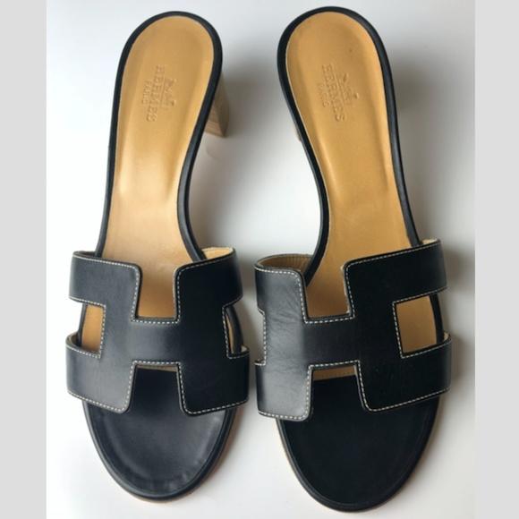 b1c5aaa70469 Hermes Shoes - HERMES Oasis H Black Leather Sandals Oran Euro 38